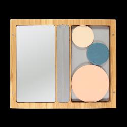 Boîtier bambou aimanté rechargeable – avec miroir – livré sans recharges – 130x75x15mm – ZAO
