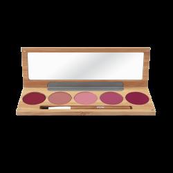 Palette maquillage – lèvres – KISS KISS BANG BANG – boîtier bambou rechargeable + miroir + pinceau – 5x3g – bio, vegan – ZAO