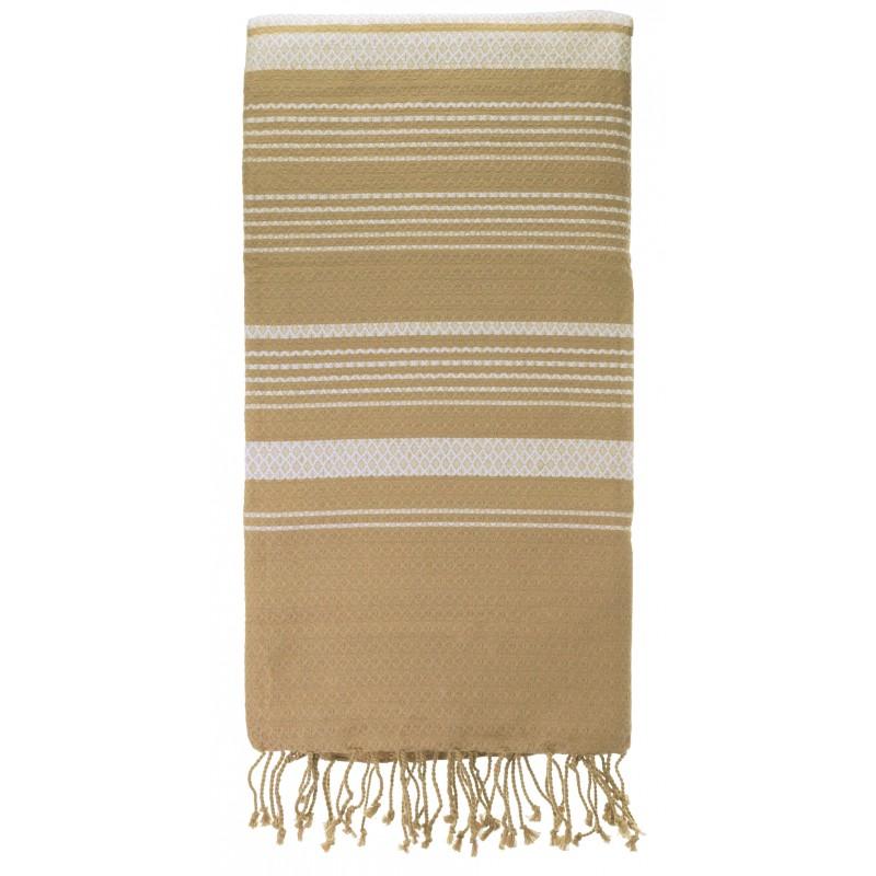 Fouta sable et blanc pur 100 * 200 cm