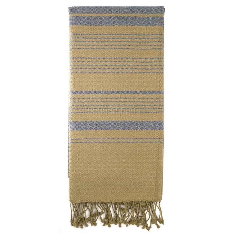 Fouta sable et bleu de Chine 50 * 100 cm