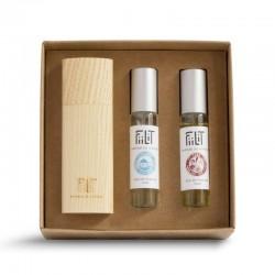 Eau de parfum mixte – Coffret : BALI + CUBA + CYCLADES + écrin bois NATUREL – 3x10ml – naturel, vegan, slow cosmétique – FIILIT