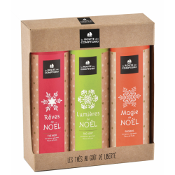Coffret thés & rooïbos bio de Noël 3*mini tubes de 40g