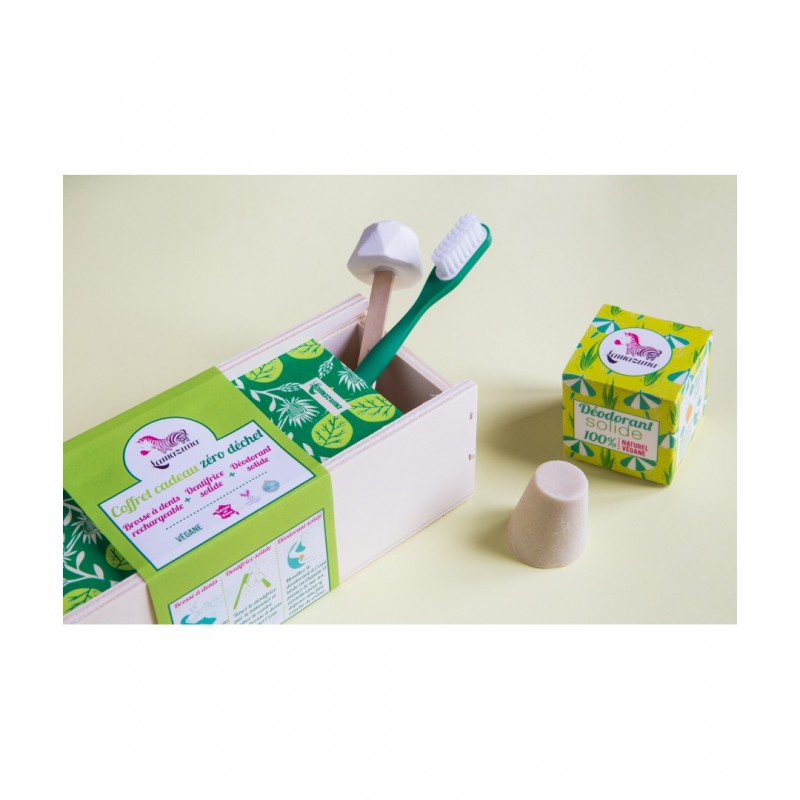 Coffret vert feuille : brosse à dent souple + dentifrice menthe poivrée + déodorant – vegan, zéro déchet – LAMAZUNA