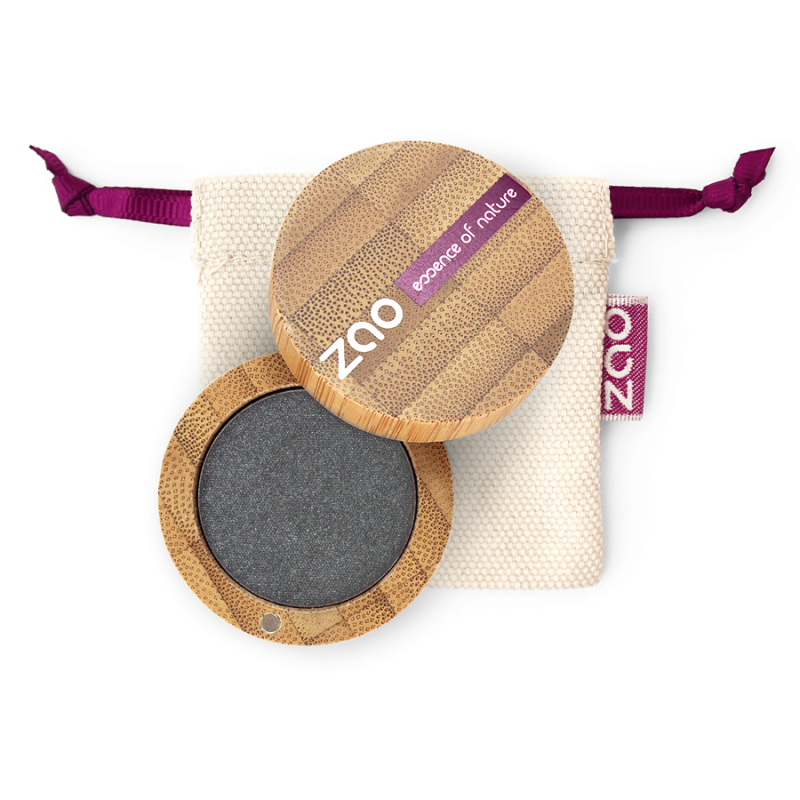 Fard à paupières nacré – 110 GRIS MÉTAL – boîtier bambou rechargeable – 3g – bio, vegan – ZAO