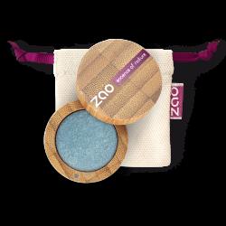 Fard à paupières nacré – 116 BLEU CANARD – boîtier bambou rechargeable – 3g – bio, vegan – ZAO