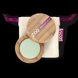 Fard à paupières mat – 214 VERT D'EAU – boîtier bambou rechargeable – 3g – bio, vegan – ZAO