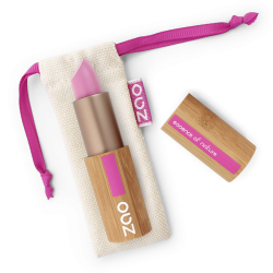 Rouge à lèvres nacré – 403 FUSHIA – boîtier bambou rechargeable – 3,5g – bio, vegan – ZAO