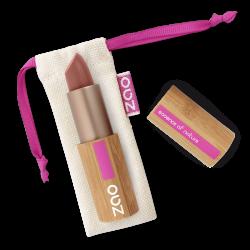 Rouge à lèvres nacré – 404 BRUN ROUGE – boîtier bambou rechargeable – 3,5g – bio, vegan – ZAO