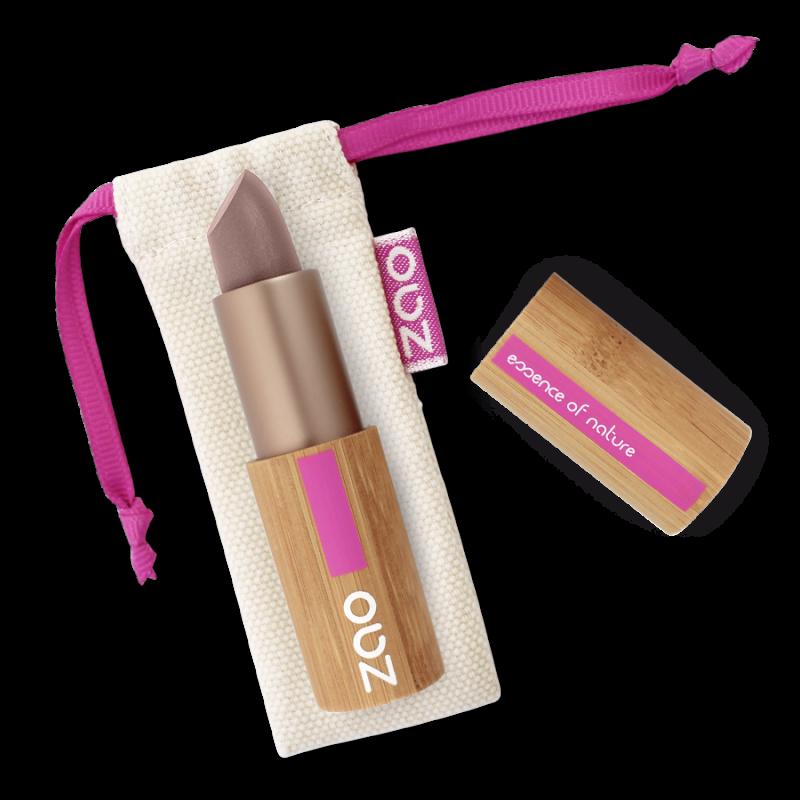 Rouge à lèvres nacré – 406 LIE DE VIN – boîtier bambou rechargeable – 3,5g – bio, vegan – ZAO