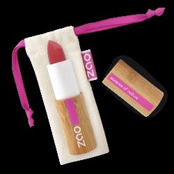 Rouge à lèvres soft touch – 435 ROUGE GRENADE – boîtier bambou rechargeable – 3,5g – bio, vegan – ZAO