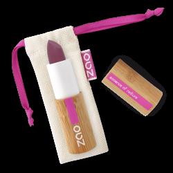 Rouge à lèvres soft touch – 437 AUBERGINE – boîtier bambou rechargeable – 3,5g – bio, vegan – ZAO