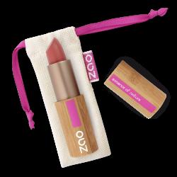 Rouge à lèvres mat – 465 ROUGE SOMBRE – boîtier bambou rechargeable – 3,5g – bio, vegan – ZAO
