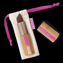 Rouge à lèvres mat – 468 PRUNE – boîtier bambou rechargeable – 3,5g – bio, vegan – ZAO