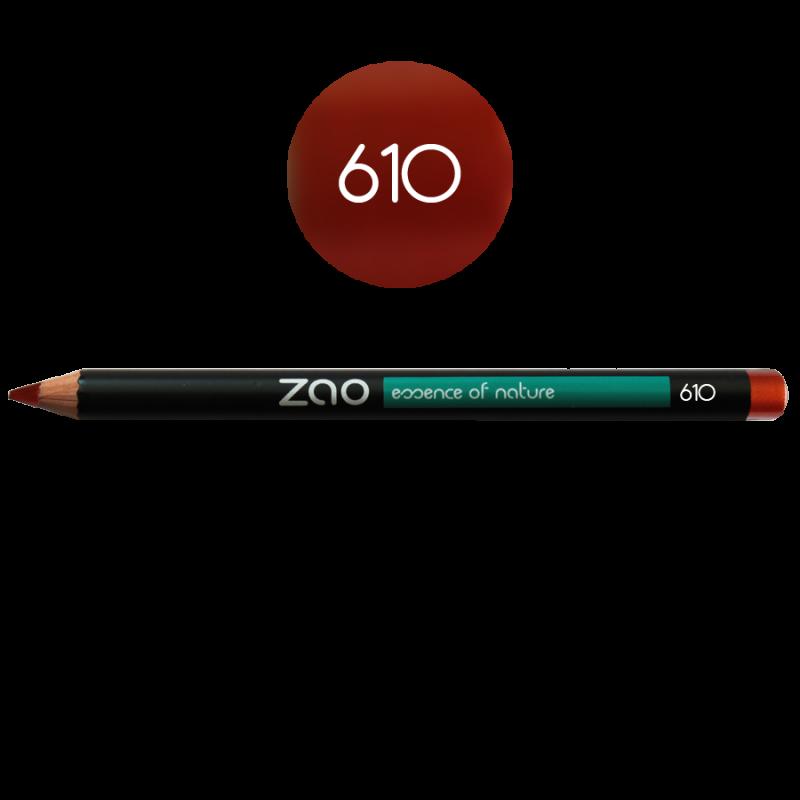 Crayon – yeux, lèvres, sourcils – 610 ROUGE CUIVRÉ – 1,14g – naturel, vegan – ZAO